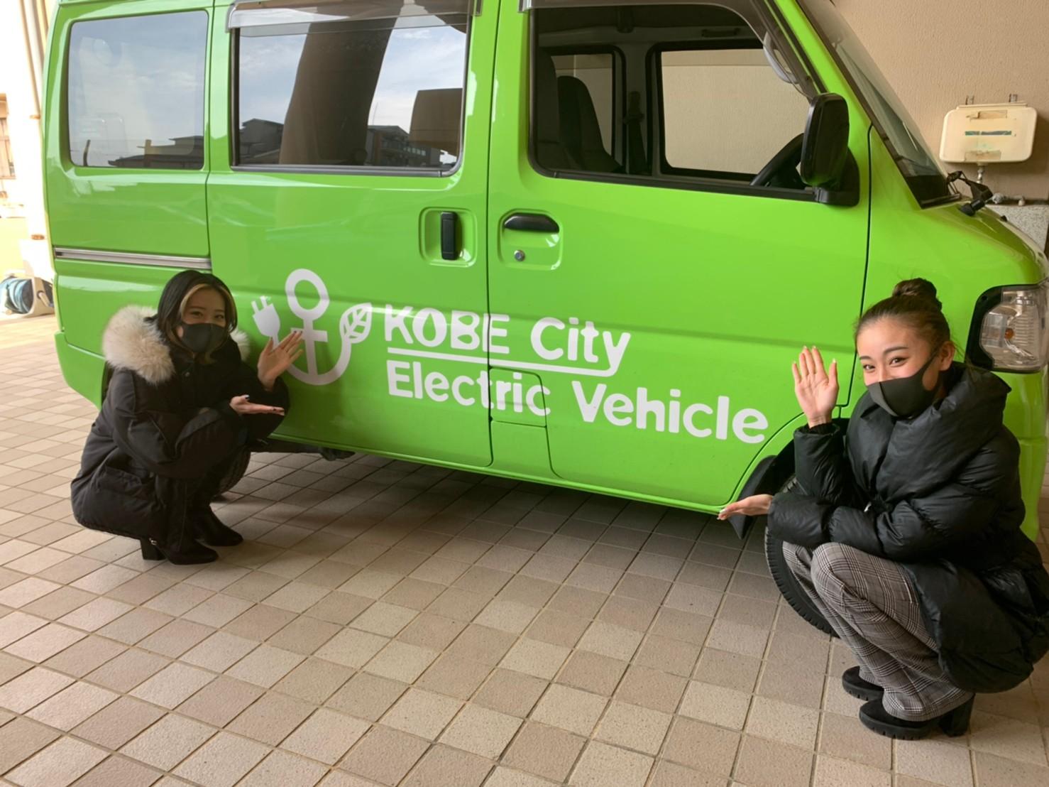 電気自動車を災害時に利用できるように訓練している様子を取材